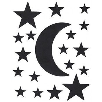 Planche de stickers lune et étoiles